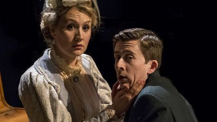 Gwendolen (Leonie Spilsbury) and Jack Worthing (Lawrence Russell) in The Importance of Being Earnest