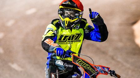 Nico Covatti celebrates victory in heat five of the Ipswich V Sheffield meeting on Saturday night. A