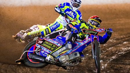 Nico Covatti leading Josh Grajczonek on opening night at Foxhall back in March. Photo: STEVE WALLER