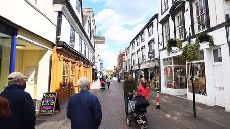 Abbeygate Street in Bury St Edmunds is a popular area for visitors.