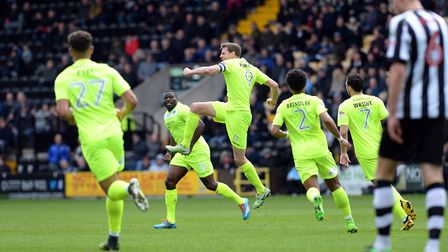 Chris Porter celebrates his stunning first-half goal during the 3-1 defeat at Notts County last week