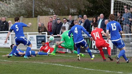 Seb Dunbar's cross causes problems for the Bilericay defence