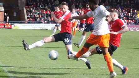 Reec Hall- Johnson caused York problems - here he gets a cross in