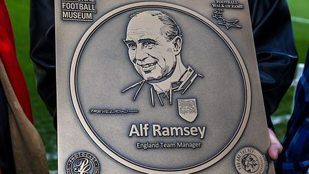 The commemorative Sir Alf Ramsey plaque that marks the former Ipswich and England manager's place in