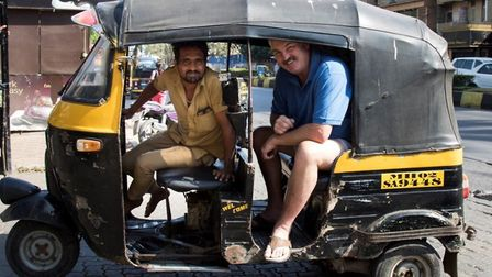 Don Topley in a tuk-tuk during England's tour of India. PHOTO: George Franks Photography