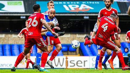 David McGoldrick shoots during the first half of the Ipswich Town v Birmingham City game on Saturday