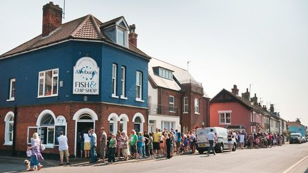 Long queues outside Aldeburgh Fish and Chip Shop are a regular sight. Picture: TONY PICK