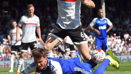 Emyr Huws goes over near the by-line at Fulham during the first half