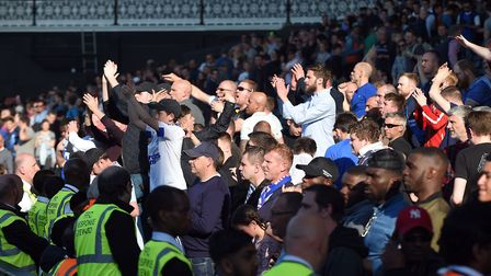 Unhappy Town fans after defeat at Fulham on Saturday. Pictures: PAGEPIX LTD