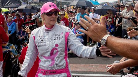 Pippa Mann at the Indianapolis Motor Speedway circuit during the month of May
