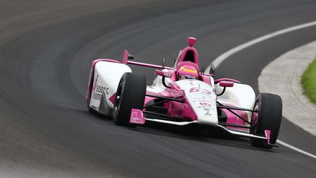 Pippa Mann on circuit at the Indianapolis oval circuit for Dale Coyne Racing: Picture: INDYCAR