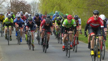 The sprint finish of the 73 miler at the Chelmer Road race
