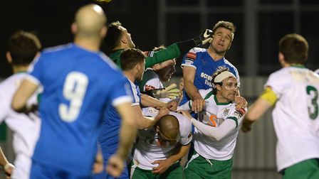 Leiston pile on the pressure during their failed attempt to get an equaliser at Bognor Regis in a 1-