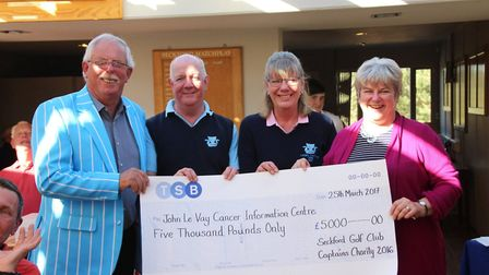 Seckford Golf Club members, pictured l-r, captain John Mealing, seniors' captain Terry Duffell and l