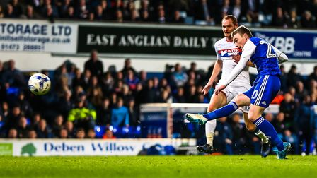 Freddie Sears scores to put Town 2-0 up in midweek. Picture: Steve Waller