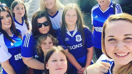 Town fan Helen Royce (@helenroyce) sent us this snap of herself and friends following the Blues on T