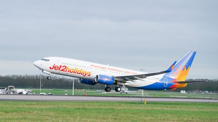 The inaugural Jet2holidays flight leaving Stansted bound for Faro. Photo: Tony Pick