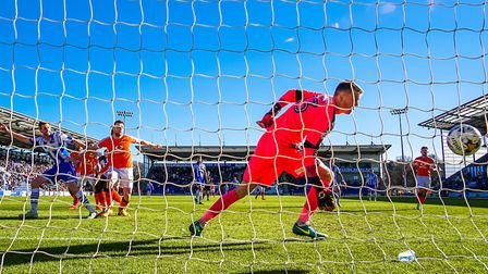 Chris Porter beats Luton keeper Matt Macey for his second goal during the 2-1 victory over the Hatt
