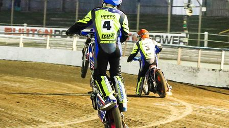 Cameron Heeps celebrates a Witches 5-1 with team-mate Nico Covatti in heat five of the Ipswich v Be