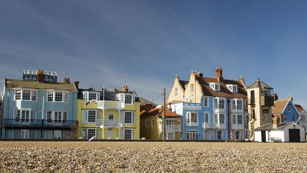 Rows of colourful houses on Aldeburgh seafront