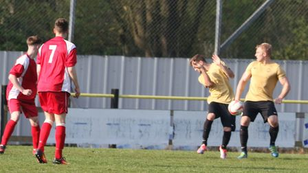 Woodbridge were denied a penalty despite the ball hitting Stow's Ben Licence in the hands