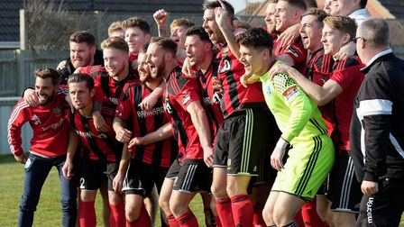 Brightlingsea celebrate their promotion to the Ryman Premier. Pictures: PAUL VOLLER