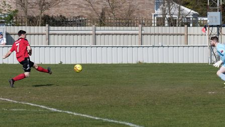 Billy Hunt scores his second goal for Brightlingsea