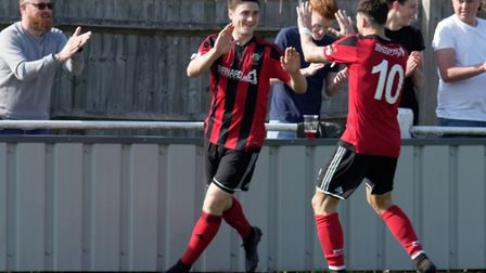 Two of Brightlingsea's scorers, Billy Hunt and Phil Kelly celebrate a goal