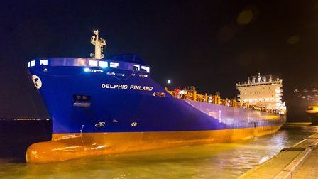 The Delphis Finland arriving at the Port of Felixstowe on April 8, 2017. Picture: Stephen Waller -