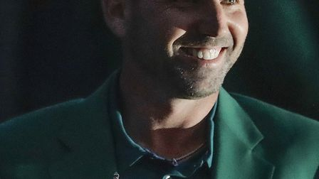 Sergio Garcia, of Spain, holds his trophy at the green jacket ceremony at Augusta.