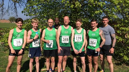 Colchester Harriers had a successful day at the Little Bromley 10K. (From left): Max Caulfield, Dan