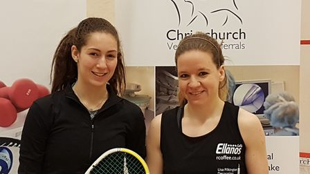 Hana Moataz and winner, Julianne Courtice (right) before their final.