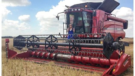 The Case Combine Harvester 7088 of Lucy McVeigh of Kenton Hall Estate.