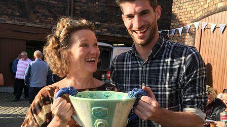 Ryan Barrett with Great Pottery Throw Down judge Kate Malone