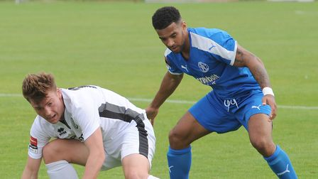 Seb Dunbar, right, who netted a second-half equaliser for Leiston at Merstham tonight.