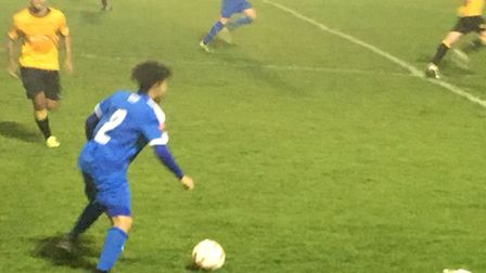 Ollie Brown, on the ball for Leiston at Merstham during tonight's Ryman League clash in Surrey. Pict