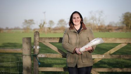 Rebecca Miles of Lane Farm with some Suffolk Salami made on the family's pig farm.