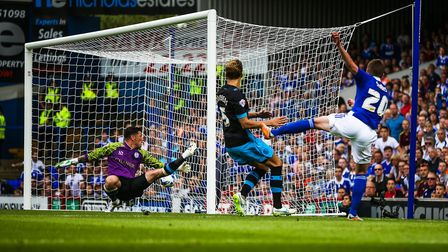 Freddie Sears levels for Ipswich during the Blues' 2-1 win over Sheffield Wednesday in August 2015.