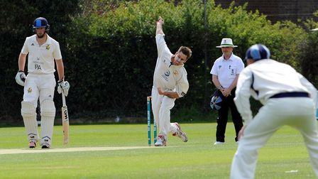 Frinton bowler and captain, Kyran Young, who took a hat-trick and then top-scored with the bat in th
