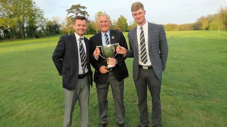 Champions (from left) Chris Bartrum, SGU president Colin Firmin and James Biggs.