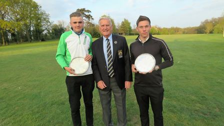 Runners- upBen Sayers (Felixstowe Ferry) on left and Josh Robertson of Ufford Park, winners of the W