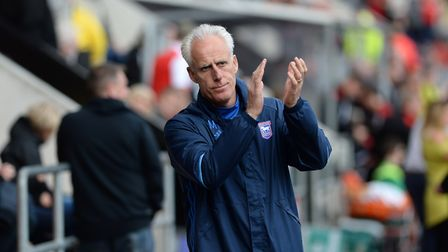 Ipswich Manager Mick McCarthy applauds the travelling fans before kick-off at Rotherham
