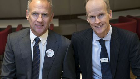 Dave Lewis, chief executive of Tesco, left, and Charles Wilson, chief executive of Booker at the ann