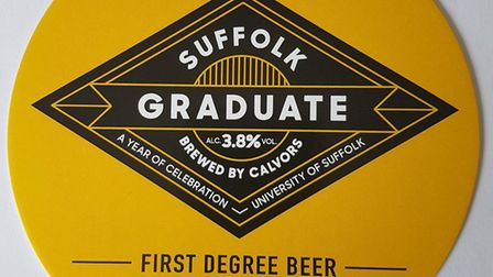 The pump clip for Suffolk Graduate, a special beer being brewed by Calvors to mark the University of