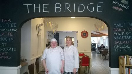 Chloe, who is on a supported internship at The Bridge Project in Sudbury, with project manager Jo Se