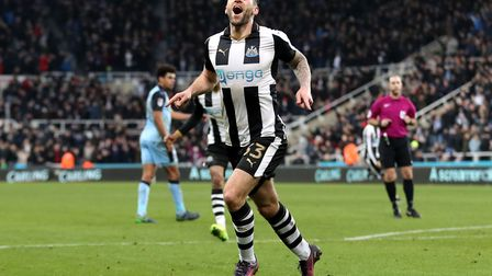 Newcastle United's Daryl Murphy celebrates scoring for his side against Rotherham.
