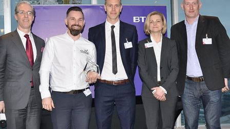 From left, Colm O�Neill of BT, Richard Helson and Joe Southgate of Chorus, Caroline Barker from th