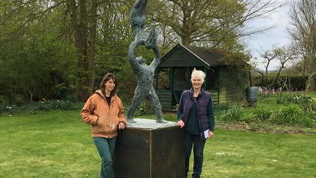 Sculptor Caroline Mackenzie, right, and foundry-woman Sarah Pirkis with the seven foot bronze sculpt
