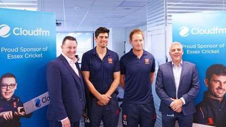 Cloudfm founders Jeff Dewing and Derrick Hidden with Essex County Cricket Club players Alastair Cook