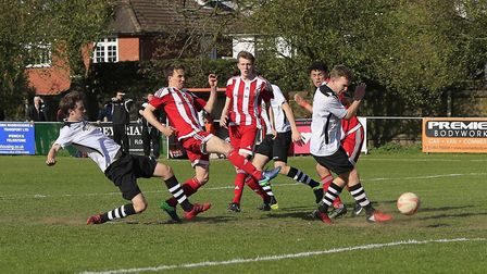 Jordy Matthews strikes through a crowded penalty to give Felixstowe all three points at home to Have